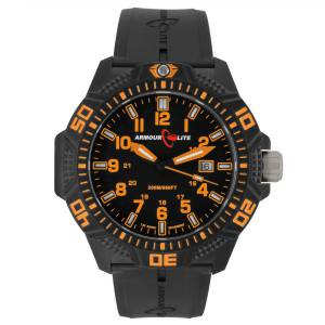 [アーマーライト]Armourlite Orange Caliber Series Tritium Polycarbon Watch Black AL612 orange