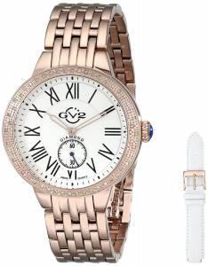 [ジェビル]GV2 by Gevril  Astor DiamondStudded Rose Gold IonPlated Stainless Steel Watch 9102