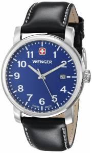 [ウェンガー]Wenger 腕時計 Amazon-Exclusive Stainless Steel Watch with Black Leather Band 71003 メンズ [並行輸入品]