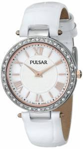 [パルサー]Pulsar 腕時計 Swarovski CrystalAccented Watch with White Leather Band PM2127 レディース [並行輸入品]