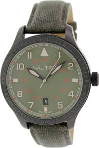 [ノーティカ]Nautica 腕時計 BFD 105 Date Polyurethane Leather Olive watch N11108G メンズ [並行輸入品]