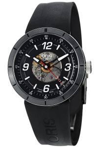 [オリス]Oris TT1 Skeleton Engine Date Automatic Steel & Black PVD Watch 26 Jewels 733-7668-4114
