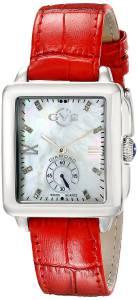 [ジェビル]GV2 by Gevril  Bari DiamondAccented Stainless Steel Watch with Red Leather Band 9201