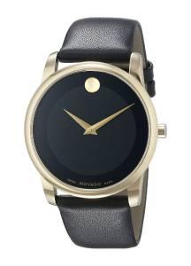 [モバード]Movado 腕時計 GoldTone Watch with Black Leather Band 0606876 メンズ [並行輸入品]