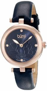 [バージ]Burgi Amazon Exclusive DiamondAccented GoldTone Watch with Navy Blue Leather BUR128BU
