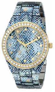 [ゲス]GUESS 腕時計 Ice Blue PythonPrint GoldTone Watch with Genuine Crystals U0583L1 レディース [並行輸入品]