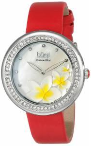 [バージ]Burgi 腕時計 DiamondAccented SilverTone Watch with Red Satin Band BUR116RD レディース [並行輸入品]