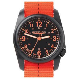 [ベルトゥッチ]bertucci DX3 Field Resin DashStriped Drab Orange Nylon Strap Black Dial 11042