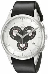[カルバン クライン]Calvin Klein Basic Stainless Steel Watch with Black Leather Band K2A27188