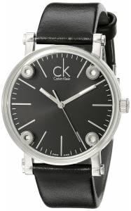 [カルバン クライン]Calvin Klein 'Congent' Black Dial Black Leather Strap Swiss K3B231C1