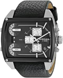 [ディーゼル]Diesel  Mothership Stainless Steel Watch with Black Leather Band DZ7326 メンズ