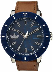 [アディダス]adidas  Amsterdam Stainless Steel Watch With Brown Leather Band ADH3000 メンズ