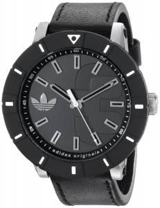 [アディダス]adidas  Amsterdam Stainless Steel Watch with Black Leather Band ADH2998 メンズ