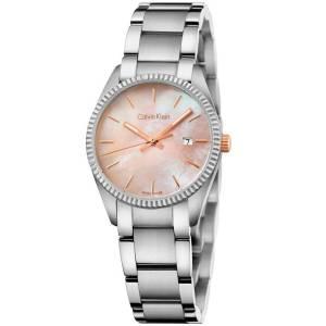 [カルバン クライン]Calvin Klein Silver Stainless Steel Watch with Mother of Pearl K5R33B4H