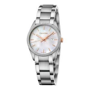 [カルバン クライン]Calvin Klein Silver Stainless Steel Watch with Mother of Pearl K5R33B4G