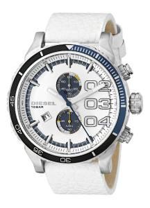 [ディーゼル]Diesel Double Down 2.0 Chrono Stainless Steel Watch With White Leather Band DZ4351