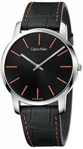 [カルバン クライン]Calvin Klein 腕時計 City Black Leather Strap Watch K2G211C1 メンズ