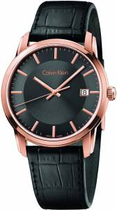 [カルバン クライン]Calvin Klein Infinite Rose Gold / Black Leather Quartz Analog K5S316C3