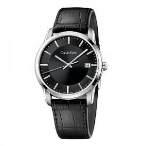 [カルバン クライン]Calvin Klein Infinite Silver / Black Leather Analog Quartz Watch K5S311C1