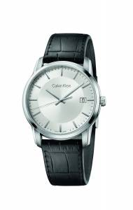 [カルバン クライン]Calvin Klein Infinite Silver / Black Leather Analog Quartz Watch K5S311C6