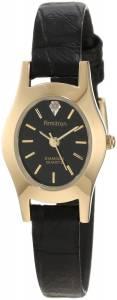 [アーミトロン]Armitron 25/6198 Diamond Accented Dial GoldTone Black Leather Dress Watch 256198