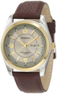 [アーミトロン]Armitron  20/1925GYBN Round TwoTone Brown Leather Strap Watch 201925GYBN