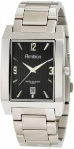 [アーミトロン]Armitron 204321BKSV SilverTone Stainless Steel Black Rectangular 20-4321BKSV