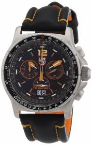 [ルミノックス]Luminox F35 Lightning IiTM 9380 Black/Orange Leather Strap Stitching GGL.L9388