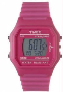 [タイメックス]Timex  Pink Plastic Resin Case Pink Rubber Strap Digital Dial T2N246