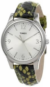 [タイメックス]Timex  Green/Black Python Patterned Leather Strap Watch T2P1302M