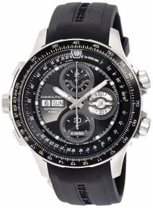 [ハミルトン]Hamilton  Khaki XWind Automatic Black Dial Black Rubber Watch H77766331 メンズ
