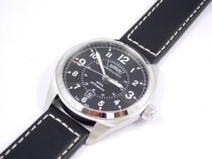 [ハミルトン]Hamilton 腕時計 Khaki Field Blacl Dial Black Leather Watch H70505733 メンズ
