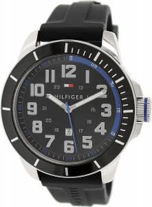 [トミー ヒルフィガー]Tommy Hilfiger  Black Silicone Analog Quartz Watch 1791072 メンズ