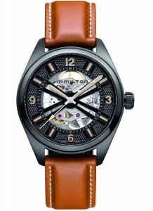 [ハミルトン]Hamilton  Khaki Black Dial Automatic Brown Leather Watch H72585535 メンズ