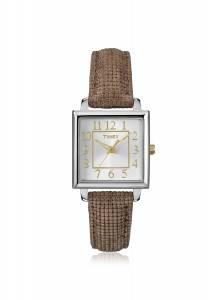 [タイメックス]Timex  Classics Brass Case Brown Textured Metallic Leather Strap Watch T2P312