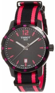 [ティソ]Tissot  Quickster Black Dial Black and Hot Pink Nylon Watch T0954103705701 メンズ