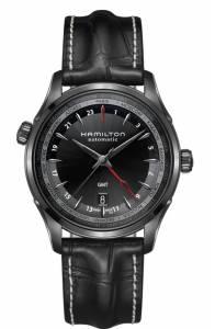 [ハミルトン]Hamilton  Jazzmaster GMT All Black Leather Strap Watch H32685731 メンズ