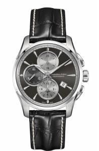 [ハミルトン]Hamilton  Jazzmaster Black Leather Strap Chronograph Watch H32596781 メンズ