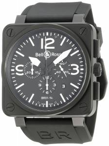 [ベルアンドロス]Bell & Ross  Aviation Black Chronograph Dial Watch Watch BR-01-94-CARBON