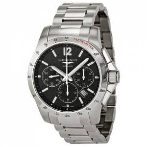 [ロンジン]Longines Conquest Chronograph Black Dial Stainless Steel Watch L27434566 L2.743.4.56.6
