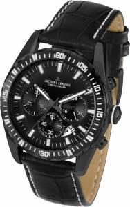[ジャックルマン]Jacques Lemans 11801F 41mm Ion Plated Stainless Steel Case Black 1-1801F
