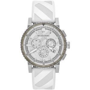 [バーバリー]BURBERRY  White Dial Stainless Steel Rubber Chronograph Quartz Watch BU9810