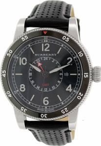 [バーバリー]BURBERRY  The Utilitarian GMT Black Dial Black Leather Watch BU7854 メンズ