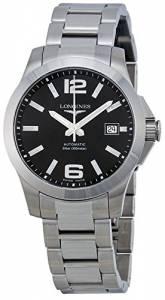 [ロンジン]Longines  Conquest Black Dial Stainless Steel Watch L36764586 L3.676.4.58.6 メンズ