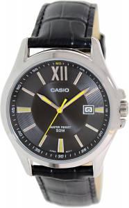 [カシオ]Casio 腕時計 Black Leather Quartz Watch with Black Dial MTPE103L-1AV メンズ