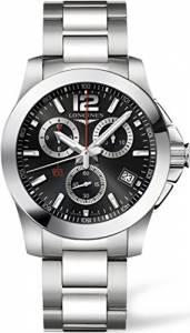 [ロンジン]Longines  Conquest Chronograph Black Dial Stainless Steel Watch L37004566 メンズ