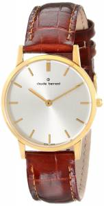 [クロードベルナール]claude bernard Classic GoldTone Watch with Brown Leather 20060 37J AID