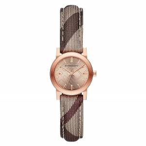 [バーバリー]BURBERRY  The City Collection Rose Gold Face Nova Check Strap Watch bu9236