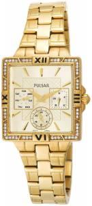 [パルサー]Pulsar  Dress Sport Square Champagne Dial GoldTone Steel Watch PYR048 レディース