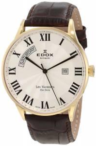 [エドックス]Edox  Les Vauberts Automatic Gold PVD Roman Numeral Leather Watch 83010 37J AR